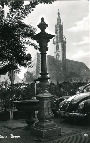 postcard - bolzano - piazza walter - 1958