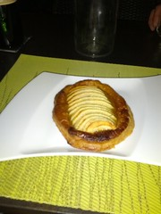 "Desert ""apple pastry flambe"", Le Cyrilou in Montpellier, France"