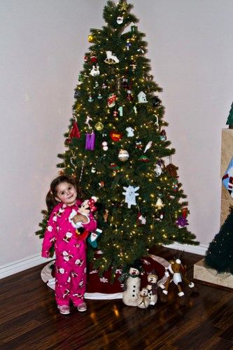 in front of the tree