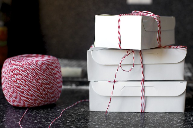 little boxes tied up with bakery string