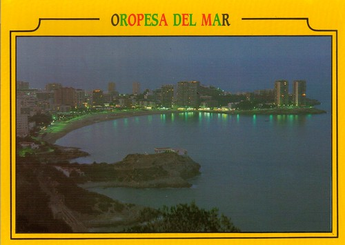 """Playa de la concha desde """"el balcó"""" por la noche. Aprox 1985"""