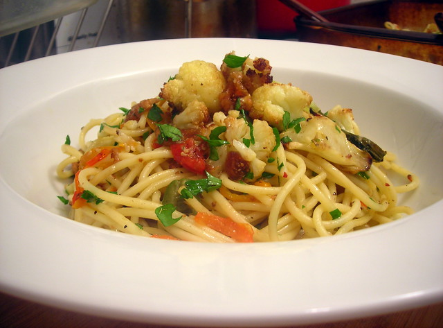 Spaghetti with roasted cauliflower, Castelvetrano olives, Spanish figs and pickled cherry peppers