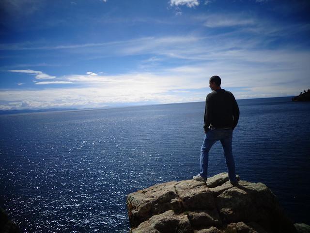Edson Hurtado en el Lago Titicaca