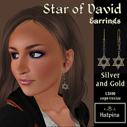Hatpins - Star of David Earrings - Silver and Gold (copy_mod)