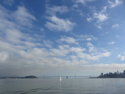 bay bridge, boat and sky