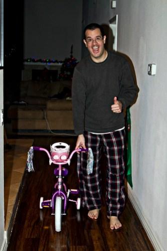 daddy brings in the big girl bike