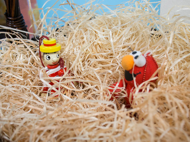Elmo gets a friend in the hay
