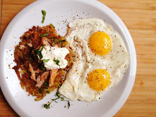 crispy herbed potato cakes, smoked trout, creme fraiche, and eggs - happy 2013!