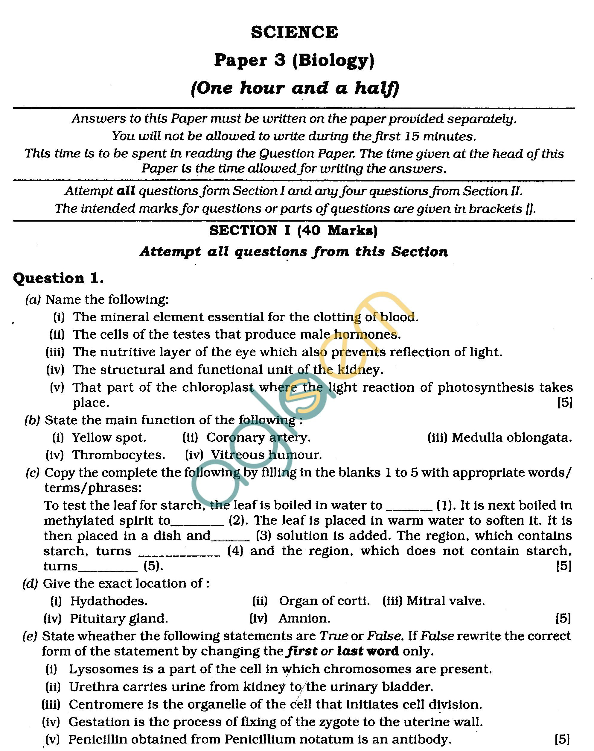 Icse Class X Exam Question Papers Biology Science