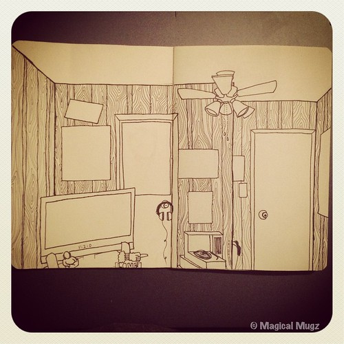 The Sketchbook Project 2013 - Maggie's Room with Wood Panel