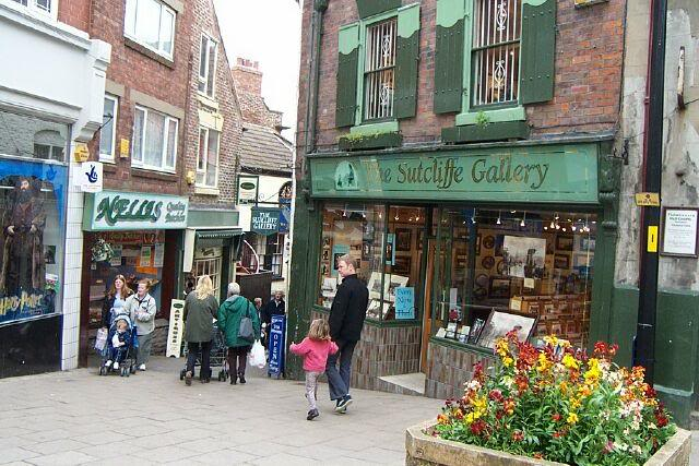 Shopping at the Sutcliffe Gallery in Whitby, England, 2002