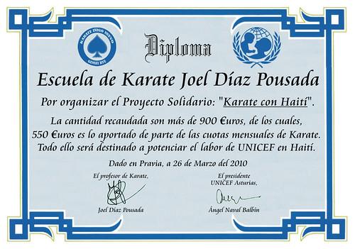 Diploma del Proyecto Solidarío: Karate con Haití