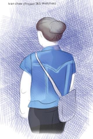 """Denim Jacket Girl"" (#56: Project 365 Sketches)"