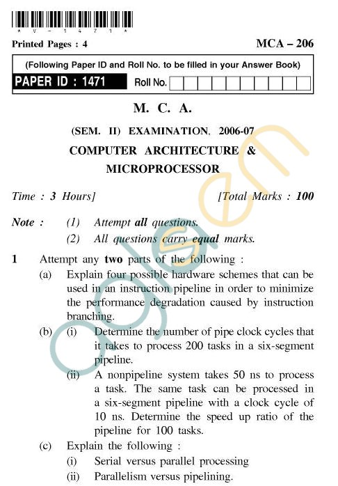 UPTU MCA Question Papers - MCA-206 - Computer Architecture & Microprocessor