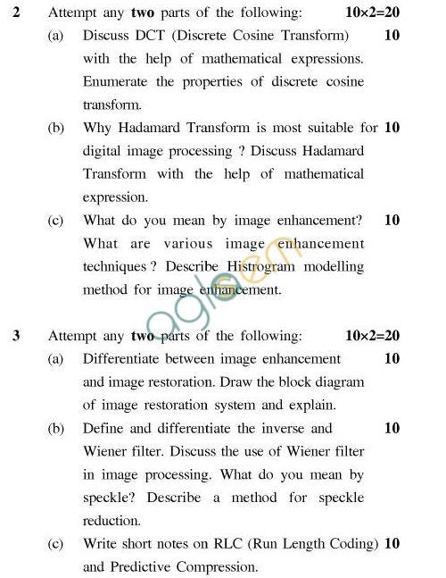 UPTU B.Tech Question Papers -EC-026-Image Processing