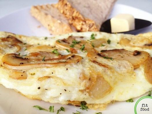 Snow White - soufflé egg white omelette stuffed w mushrooms