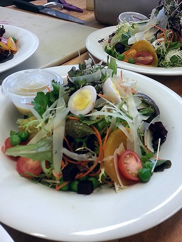 Quail egg, red and golden beets mixed green salad (composed) by pipsyq