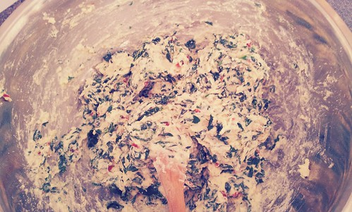Sun-Dried Tomato Spinach Muffin Batter