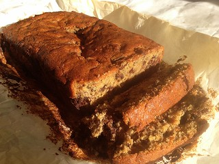Chocolate chip, walnut chunk, banana loaf cake adapted from a Nigella Lawson recipe