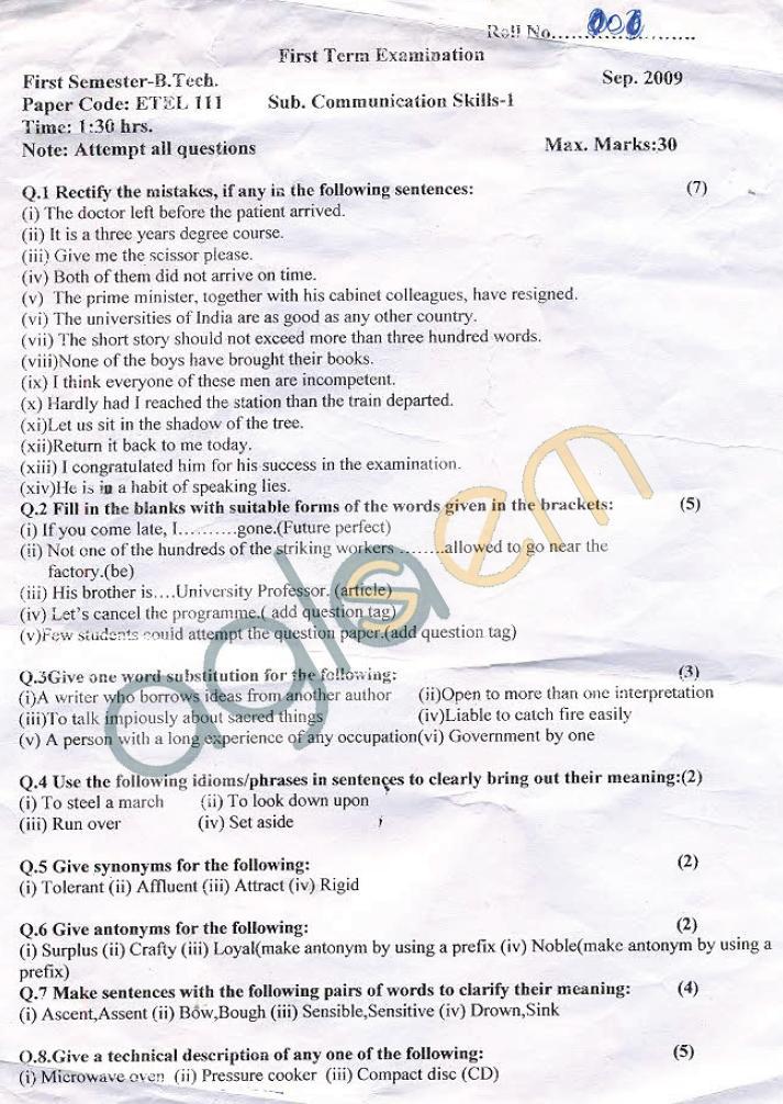 GGSIPU: Question Papers First Semester - First Term 2008 - ETEL-111