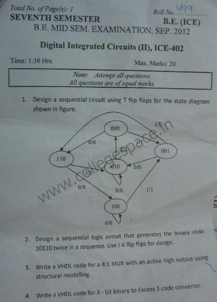 NSIT Question Papers 2012 – 7 Semester - Mid Sem - ICE-402
