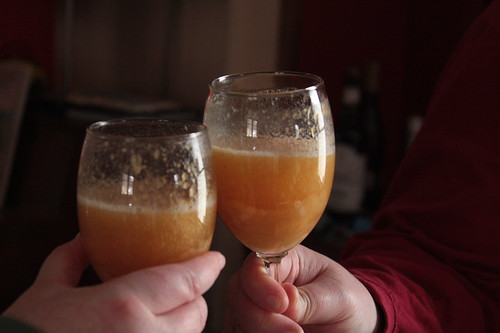 Bellinis made with home canned summer peaches in vanilla syrup.