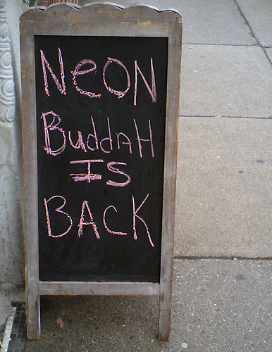 Neon Buddah sign