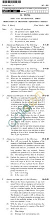 UPTU  B.Tech Question Papers - AG-481 - Irrigation & Drainage Equipment Design