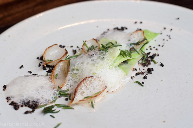 Oyster, hispi cabbage, silver onions, ale sauce