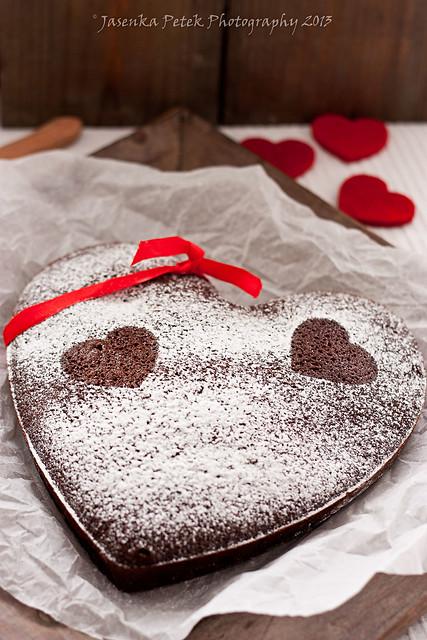 Valentine`s chocolate cake