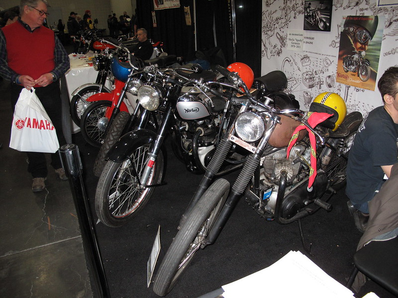 Mike's '57 Hardtail Triumph, Doug's '51 Norton Dominator, and Euvin's '73 Aermacchi Sprint 350