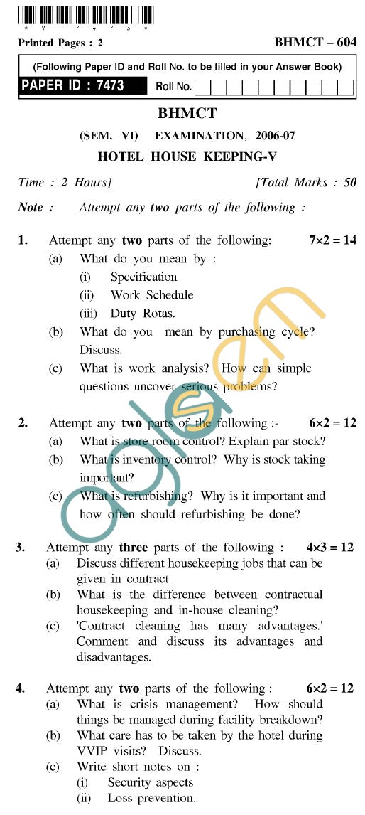 UPTU BHMCT Question Papers -BHMCT-604-Hotel House Keeping-V