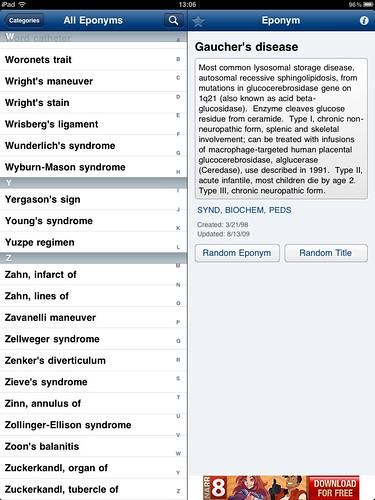 Eponyms app on iPad