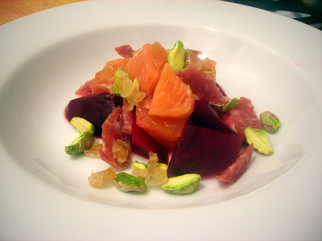 Beet and Cara Cara orange salad, with crystallized ginger, pistachios and Chinese lap cheong sausage