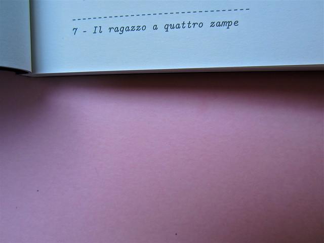 Simone Bisantino, Il ragazzo a quattro zampe. Caratteri Mobili 2012. Pr. grafico e impaginazione: Michele Colonna; ill. di Giuseppe Incampo. Pagina 7 (part.), 1