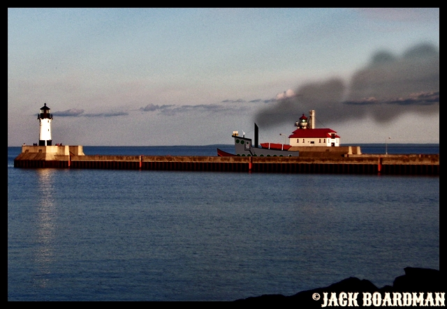 A small steamer departs Duluth Harbor