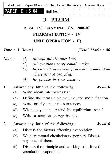 UPTU B.Pharm Question Papers PHAR-241 - Pharmaceutics-IV