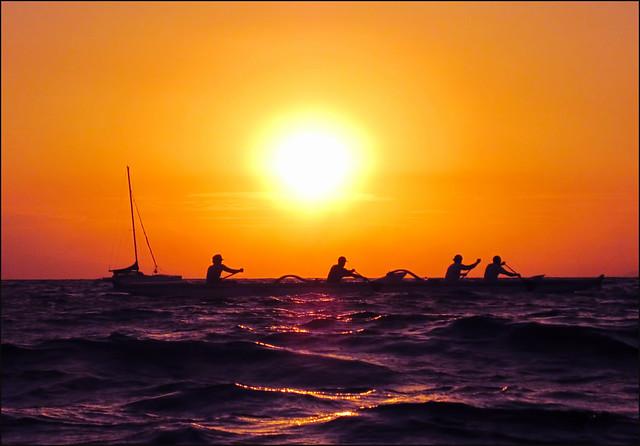 Kama'ole Beach one, Burning Sun with Boat, Kihei, Maui, Hawaii
