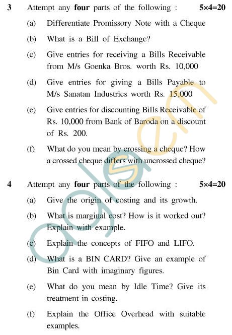 UPTU B.Tech Question Papers - CT605(N) - Elements of Costing & Accountancy