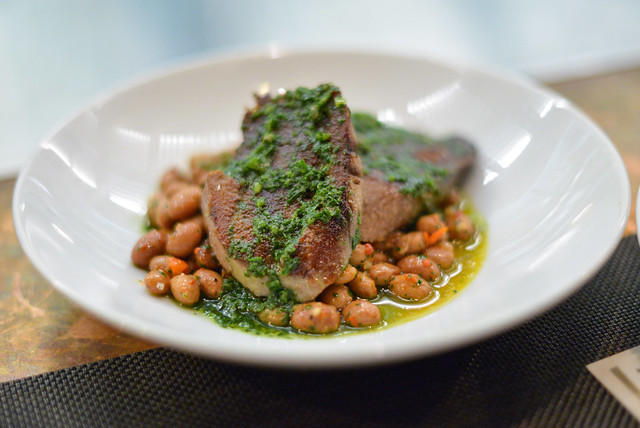 Grilled Grass-feed Beef Tongue berlotti beans, fermented chilies, red wine vinegar, salsa verde