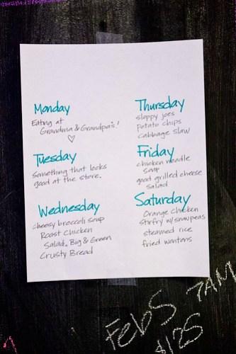 This week's meal plan