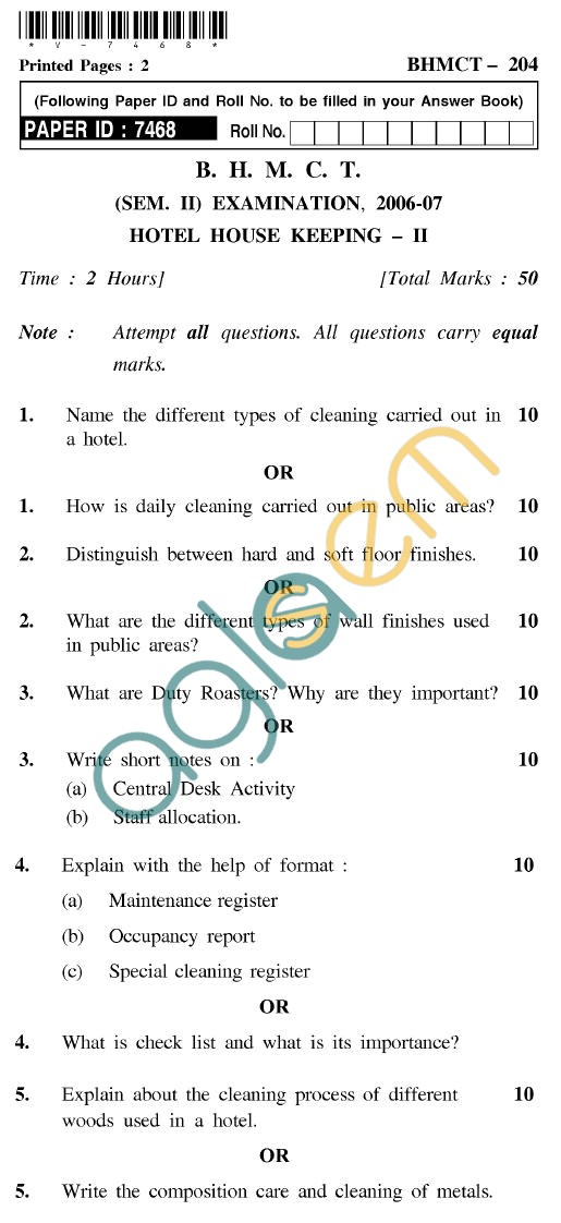UPTU BHMCT Question Papers -BHMCT-204-Hotel House Keeping-II