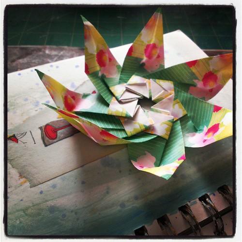 Blooming in the studio #origami #artjournal