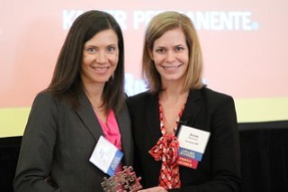 Tana Thomson and Anne Donovan after accepting Organizational Excellence in HR Award