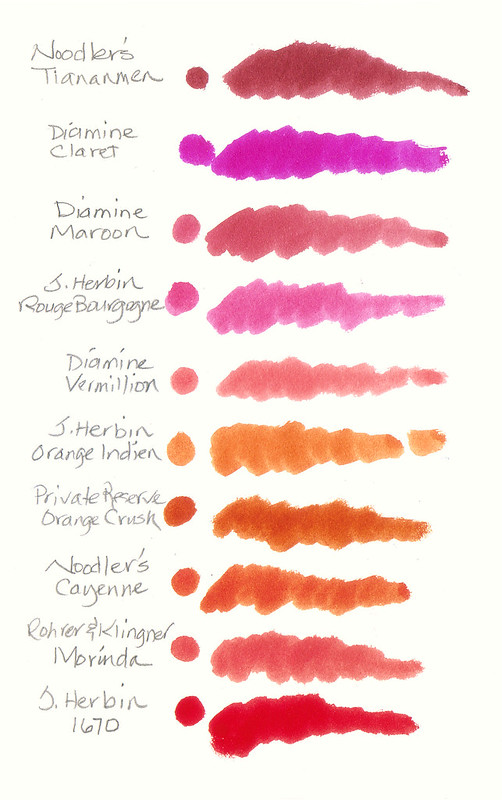 Red, orange, and pink inks