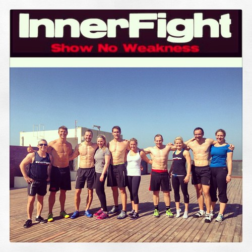 "Epic crew for this weeks ""Friday challenge"" #innerfight #workhard #workout #fun #awesome"