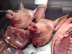 Pig heads. Smithfield Market, London