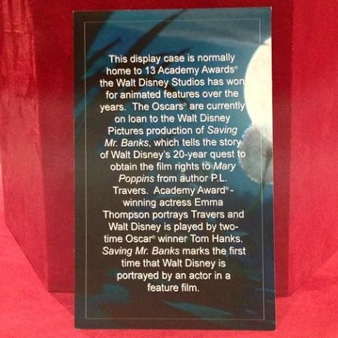 いつもここにおいてあるオスカー像が、Saving Mr. Banks撮影のために貸し出し中とのこと。本物つかうのか!!