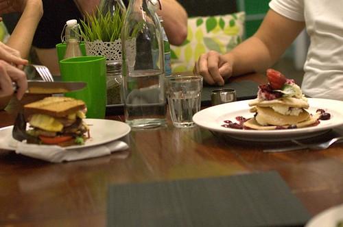 Lean beef burger, almond meal pancake stack