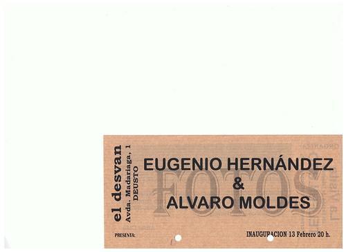 Anverso Flyer Expo Fotografica de Eugenio Hernandez y Alvaro Moldes El Desvan by LaVisitaComunicacion